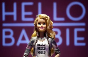 Hello Barbie is displayed at the Mattel showroom at the North American International Toy Fair, Saturday, Feb. 14, 2015 in New York. Mattel, in partnership with San Francisco startup ToyTalk, will release the Internet-connected version of the doll that has real conversations with kids in late 2015. (AP Photo/Mark Lennihan)